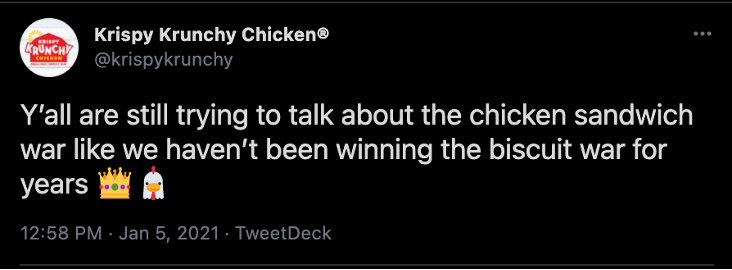 An example of social media copy that's ideal for Twitter. It's playful, it writes the brand into the broader conversation, and it's relatable to the brand's followers.